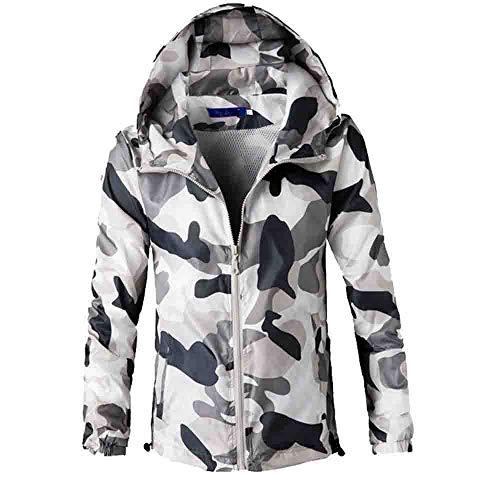 Xmiral Männer Camouflage Kapuzenpullover Jacke Langarm Printed Gentleman Oben Outwear (XXL,Grau)