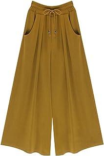 Sobrisah Women's Plus Size Elastic Waist Casual Wide Leg Culottes Pants Drawstring Palazzo Pants Ginger Yellow Three Quarter Tag 4XL-US 14