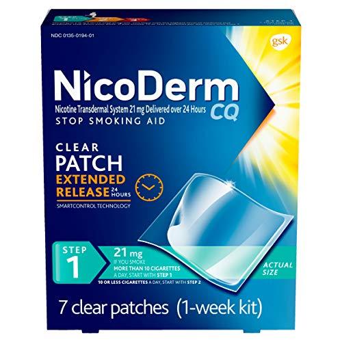 NicoDerm CQ Step 1 Nicotine Patches to Quit Smoking, 21mg, Stop Smoking Aid, 7 Count (1 Week Kit)