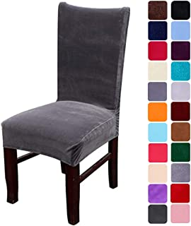 smiry Velvet Stretch Dining Room Chair Covers Soft Removable Dining Chair Slipcovers Set of 2, Dark Grey