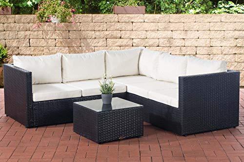 CLP Polyrattan Lounge-Set Liberi l Garten-Set Mit 5 Sitzplätzen l Garnitur Mit Aluminium-Gestell l Komplett-Set: 3er Sofa + 2er Sofa + Tisch, Farbe:schwarz, Polsterfarbe:Cremeweiß