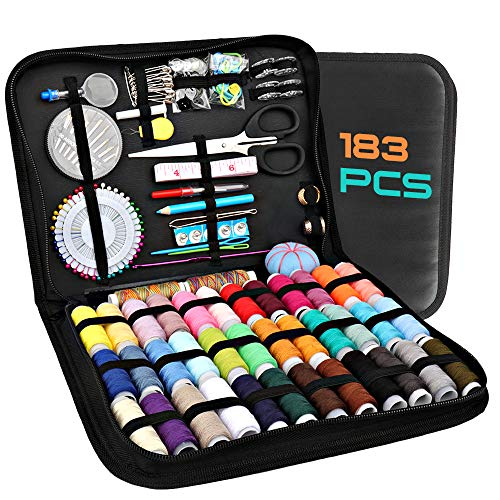 Sewing kit, 183 Premium Kits Supplies, AKARUED Sew kit for Adults, Beginner, Emergency, Kids, Travel, Home, Basic Repair, Sewing Machine Supplies Including Professional Accessories, Thread, Needle