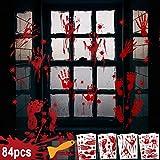 84PCS Halloween Decorations Bloody Footprint Floor Clings & Bloody Handprint Window Stickers for Halloween Vampire Zombie Party