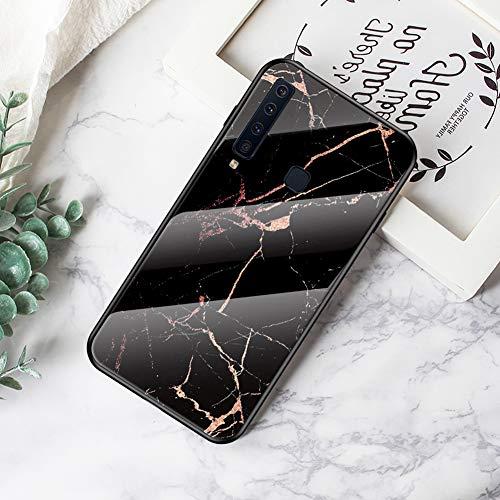 Hpory Kompatibel mit Galaxy A9 2018 Hülle, Handyhülle Samsung Galaxy A9 2018 Marmor Muster Schwarz TPU Silikon Glashülle Gehärtetes Glas Hülle Cover Tasche Etui Schutzhülle für Mädchen Damen - Gold