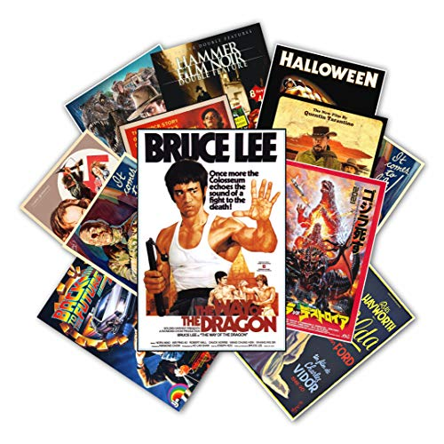 """HK Studio Vintage Posters of Retro Movie   Self-Adhesive, Vinyl Decal, Indie Posters for Room Aesthetic 90s   Indie Room Decor Wall Collage Kit   Old-School, Classic Movie Poster 7.8""""x11.8"""" Pack 12"""