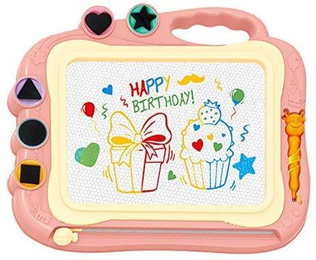 お絵描きボード 大画面(35.5*28.5cm) かいて育脳 知育玩具シリーズ 持ち手付 カラフル (ピンク)