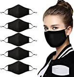 5 Pcs Unisex Fashion Cotton Cloth Dust Face Protection with Nose Bridge Reusable Washable Adjustable with 10 Pcs Replacement Carbon Filters for Man and Women(Black)