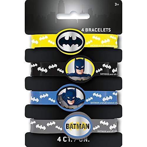 Unique- Rubber Bracelets   Assorted   Batman   4 Pcs Pulseras de Goma Piezas. (77531)