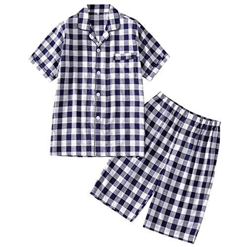 Herren Schlafanzug Pyjama Zweiteiliger Lang/Kurz Hausanzug aus 100{a67bcbc36edc1afc4e3f708330bfbd4cf757e9ad13552b89679de896376562c4} Baumwolle Shorty Set