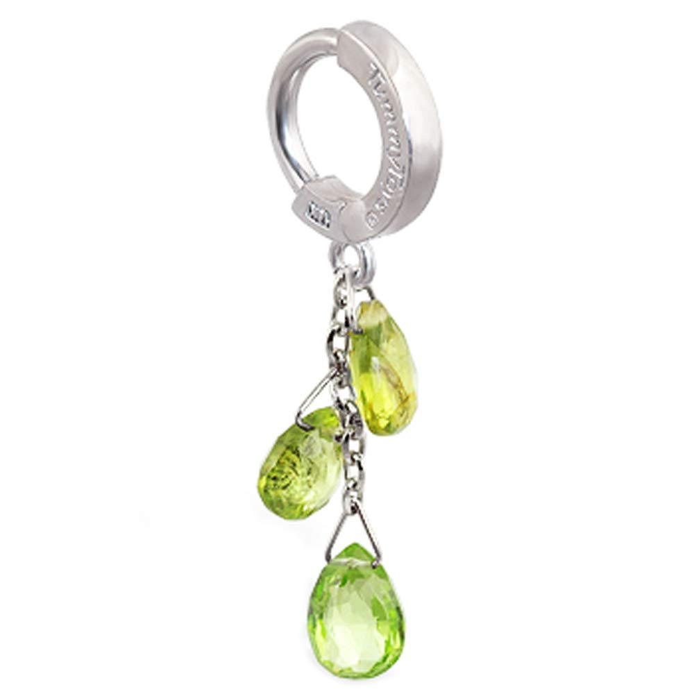 Natural Peridot Belly Ring in white navel Popular brand in the world Fees free for gold rings Sexy yo