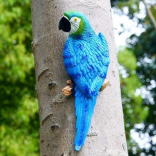 SSLLH Papagei Figuren,Gartendeko Papagei Skulptur,Realistische Papagei aus Harz Ornament,Gartenfigur Deko,Wand Garten Figur Deko für Draußen Garten Balkon Veranda Wohnzimmer Wetterfest Blau