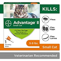 Contains one one-month application of Bayer Advantage II topical flea prevention and treatment for small cats 5-9 lbs Advantage II works through contact, so fleas don't have to bite your cat to die. Kills reinfesting fleas within 2 hours This effecti...