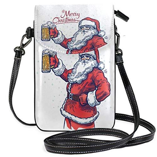 IUBBKI Kleine Mini Umhängetasche Handy Geldbörse Geldbörse Leichter Weihnachtsmann mit Bier in der Hand Reisepass Tasche Umhängetaschen für Frauen