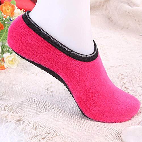 Warme Socken,Slipper Socken,Winter Angenehm Weiches Velvet Indoor Stock Socken Kurz Anti-Skid Boot Socken Farbe Warm Frauen Hausschuhe Socken Fuchsia(3pcs)