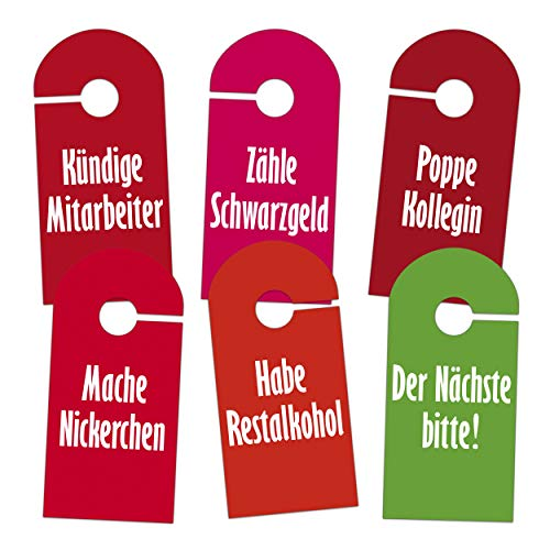 fundoleo 12 witzige Bitte-Nicht-Stören-Türanhänger (Büro-Edition, 6 knallige Motive, 12 Stück)