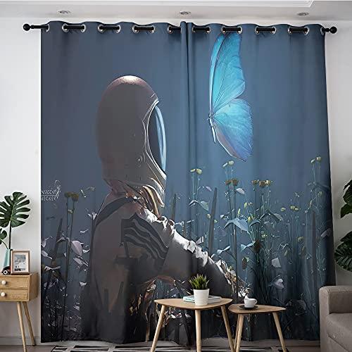Cortinas opacas de astronauta y mariposa sentadas entre flores, aislamiento térmico que reducen el ruido, cortinas elegantes y cómodas en la sala de estar, 106,7 x 137,2 cm