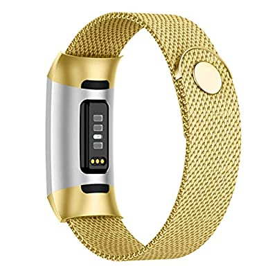 POY Compatible for Fitbit Charge 3/Charge 4 Bands,Replacement Wristbands for Charge 3 SE Fitness Activity Tracker, Metal Stainless Steel Bracelet Strap with Unique Magnet Lock for Women Men Gold S