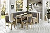 Eckbankgruppe 'Kameli II' Essgruppe 165 x 125 x 86 Vierfußtisch 2 Stühle modern Eckbank Küchentisch 4-teilig Küche Polsterung grau-braun Buche massiv naturfarbig Eiche Sonoma Sägerau Dekor