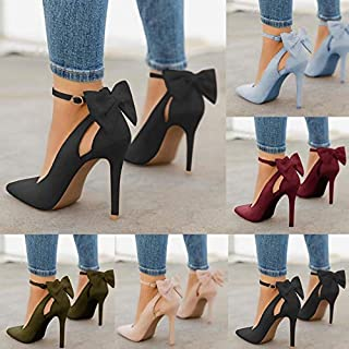 Plus Size 34-43 Women Basic Ankle Strap Pumps Pointed Toe Party Thin High Heels Fashion Femme Bowknot Party Wedding Shoes Stiletto Heel Leather Party Shoes(Blue,9.5)