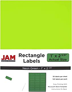 JAM PAPER Mailing Address Labels - Standard Mailing - 1 x 2 5/8 - Neon Green - 120 Shipping Labels/Pack