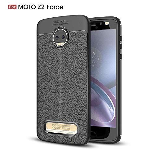 Ycloud Silikon TPU Schutzhülle für Motorola Moto Z2 Force Weich Ultra Dünn Hülle Stoßfest Anti-rutsch Back Cover Litschi Textur Schwarz Tasche für Motorola Moto Z2 Force