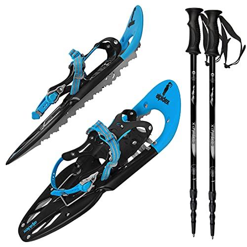 ALPIDEX Racchette Neve Ciaspole Alzatacco 38-45 Borsa Trasporto Bastoni Opzionali, Colore:Blue con Bastoncini