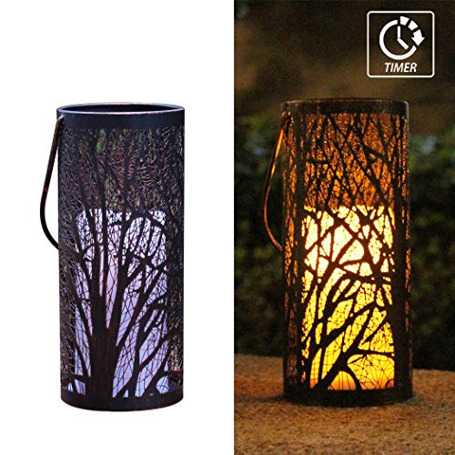 WRalwaysLX Decorative Woods Lanterns with Timer Candle Light Flameless Candles Indoor/Outdoor Lantern with Hanging use 3AAA Battery, Engraved Steel Lantern with Bronze Undertones
