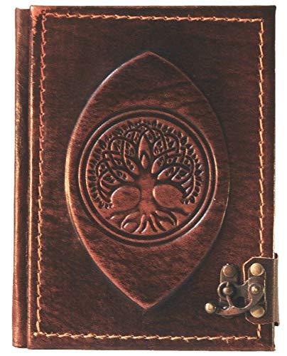 Cuaderno de piel 'Gaia' | Diario, páginas en blanco | Medieval | Árbol de la vida | Álbum de poesías | Dimensiones: 15,0 (alto) x 12,5 (ancho) x 1,7 (profundidad) cm (1. pequeño)
