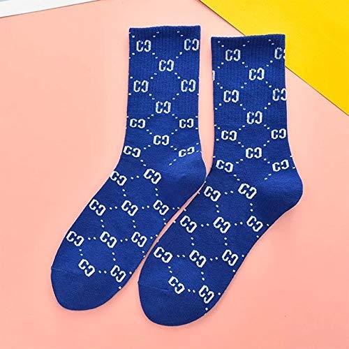 2 Pares de nuevos Calcetines de Moda con Letras de Tendencia Calcetines Casuales Deportivos de Calle para Mujer Tubo Largo versión Coreana púrpura Negro Amarillo-a6-One Size