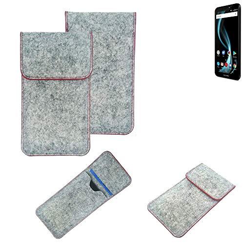 K-S-Trade® Handy Schutz Hülle Für Allview X4 Soul Infinity S Schutzhülle Handyhülle Filztasche Pouch Tasche Hülle Sleeve Filzhülle Hellgrau Roter Rand