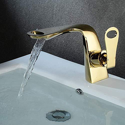 Fácil de Instalar Grifo de Lavabo Antiguo de Cobre Grifo de Agua fría y Caliente Grifo Opcional Multicolor Grifo de Revestimiento en Cascada (Color: Blanco)