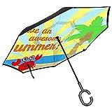 mengmeng Summer Crabautomatic Parapluie Ouvert Parapluie Pliant Inversé Voiture Extérieure Imperméable