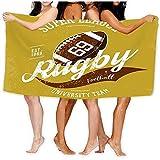 DJNGN Serviette de Bain Serviette de Plage Ballon de Rugby Logo Branding Design Super League Bannière Sportswear Équipement Vêtements Uniforme Serviettes de Bain en Tissu 80 X 130 CM