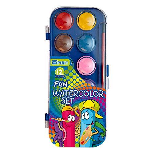 Caja de pintura en caja de plástico estable, 12 colores