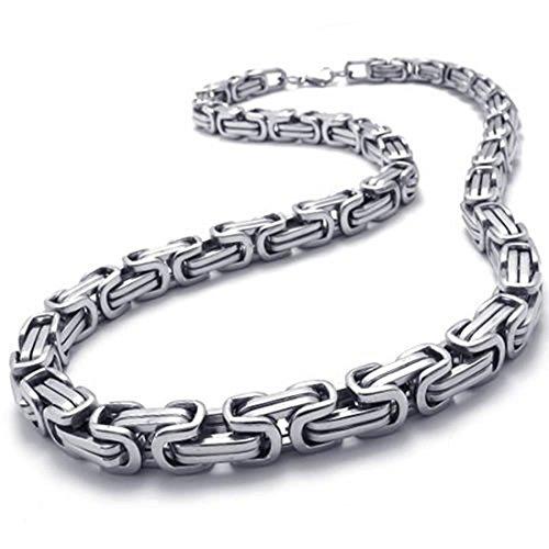 Deesen Collar de Hombres de joyeria, Collar Collar de Rey de Cadena de Motorista del Acero Inoxidable, Plata, Ancho 8mm, Longitud 55cm