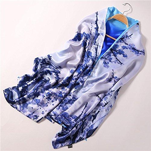 KYXXLD China Wind Herbst und Winter Schal doppelt Seide Lange Schal Schal Blau und Weiß Blueberry.