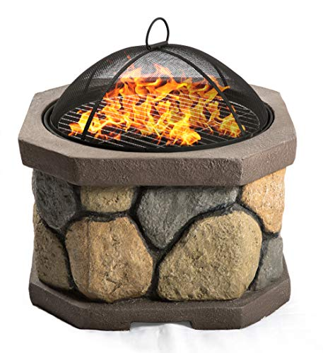 Centurion Supports Fireology BOGOTA Bold Garden & Patio Heater Fire Pit Brazier and Barbecue with Eco-Stone Finish
