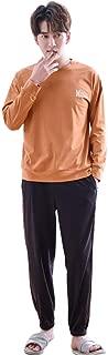 Men's Pajamas Long Sleeve Sleepwear for Men Comfortable Home Clothing Men's Cotton Clothes (Color : Orange, Size : M)