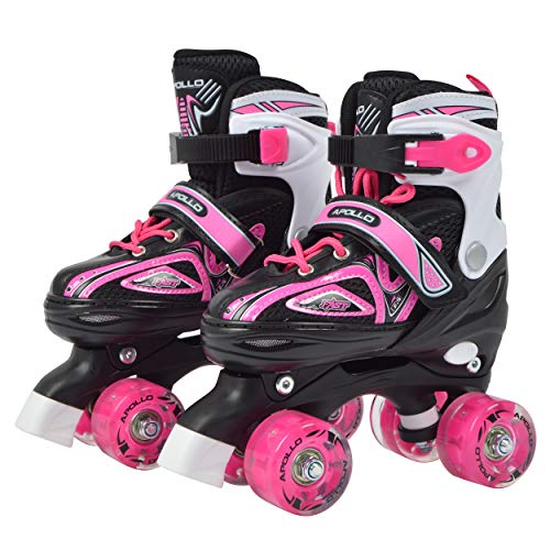 Apollo Super Quad X Pro, LED Roller Skates for Kids and Teens, Ideal for Beginners, Comfortable Roller Skates for Girls and Boys
