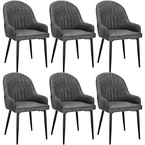 Lestarain 6X Silla de Cocina Dining Chairs Sillas de Comedor Juego de 6 Sillas Tapizadas en Cuero Sintetico Sillas Salon Nórdicas Sillas Bar Metal Gris