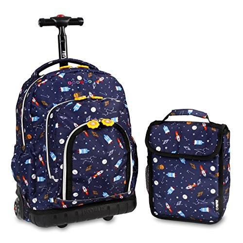 J World New York Kids' Lollipop Rolling Backpack with Lunch Bag, Spaceship, 16'