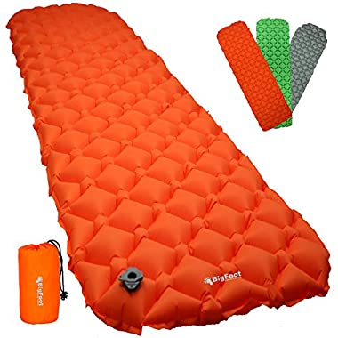 Bigfoot Outdoor Ultra-Compact Airlite Backpacking Air Mattress w/ Cell Technology - Super Comfortable - Perfect for Lightweight Backpacking - Free Repair Kit Included (Orange)