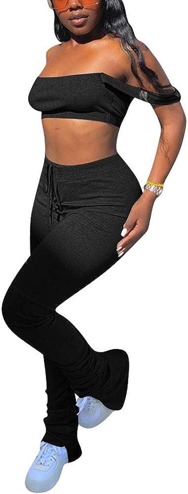 Women's Sexy 2 Piece Outfits Zipper Long Sleeve Sweatshirt Coat Long Pants Sweatsuit Set Tracksuits