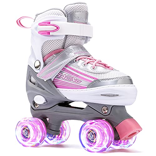 Kuxuan Saya Roller Skates Adjustable for Kids,with All Wheels Light up,Fun Illuminating for Girls and Ladies (Pink & Gray, Small(10-13US))