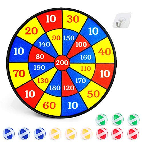 Boxgear Dart Board Game for Kids with Sticky Balls | 14' Dartboard Indoor with 12 Sticky Wall Balls | Fun Family Board Games for Kids 4 and Up | Promote Math Skills & Exercise with 4 Player