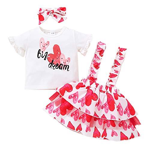 FYMNSI Conjunto de falda de tirantes para recién nacidos, de algodón, de manga corta, con diadema, 3 unidades