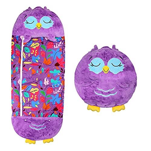 SKYUXUAN Kinder Schlafsack Unisex-Jugendkind Tragbare und Faltbare Tierschlafsack mit weichem Kissen für Jungen Mädchen Schlafsack-Lila Eule_165 * 70 cm.