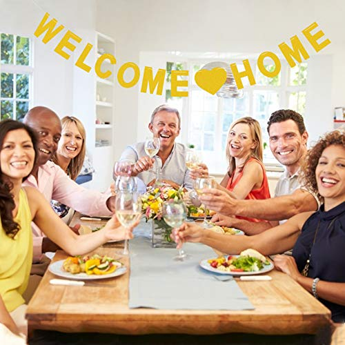MEZOOM Welcome Home Banner Pancarta Bienvenida Bunting Banner Dorado Bandera de Bienvenida a Casa para Decorar Las Fiestas de Familiares Accesorios de la Foto Baby Shower (3 Metros)
