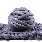 Bulky Yarn,Super Chunky Yarn Washable Roving for Arm Knitting Extreme Knitting (Dark Grey)
