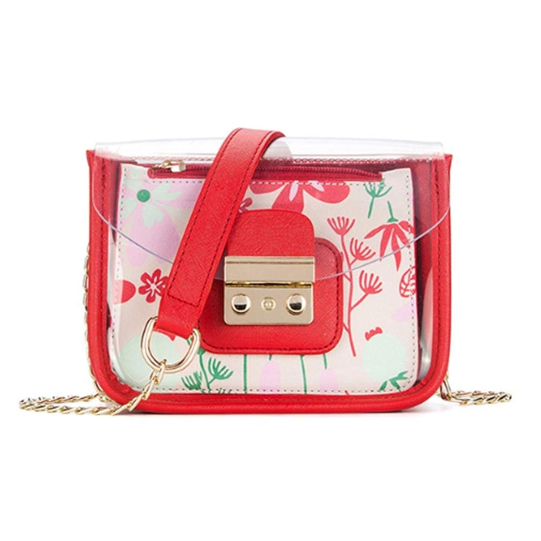 女性のキャンディーカラー透明PVC PUレザー防水スクエアチェーントップハンドルショルダークロスボディバッグ旅行用ショッピング旅行毎日のラグジュアリーレディースハンドバッグ クロスボディバッグガールズメッセンジャーバッグ (色 : 赤)